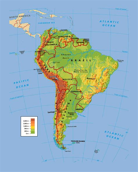 political  physical map  south america south