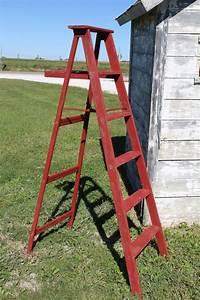 64, u0026quot, , antique, rusty, red, vintage, wood, step, ladder, display