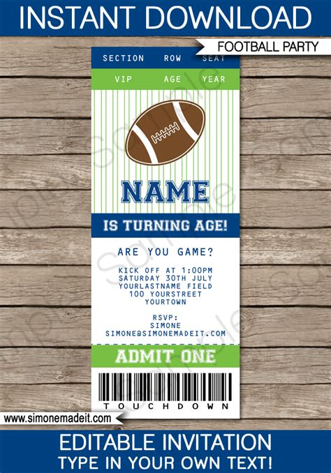 green blue football printables invitations decorations
