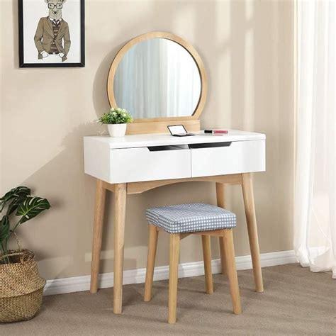 meuble coiffeuse maquillage songmics coiffeuse table de maquillage scandinave miroir ovale moderne tabouret housse lavable