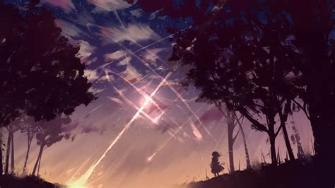 wallpaper long hair shooting star wind   art