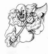 Clown Tattoo Scary Evil Drawing Jester Bohoc Rajz Colorear Rampage Rajzok Payasos Clowns Maniac Drawings Template Koponya Creepy Terror Coloring sketch template