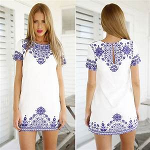blue and white porcelain pattern women tshirt dress robe With robe tunique été
