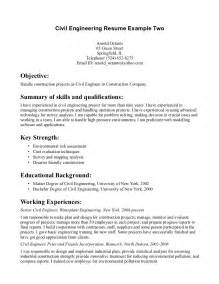 civil engineering objective resume civil engineer resume exle resume sles