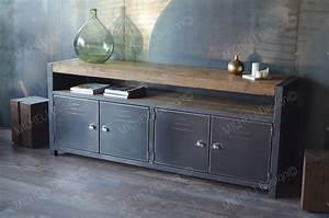 Buffet Metal Et Bois : meuble de style industriel table basse meuble tv micheli design ~ Melissatoandfro.com Idées de Décoration