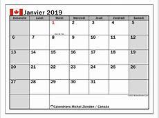 Calendrier janvier 2019, Canada Michel Zbinden fr