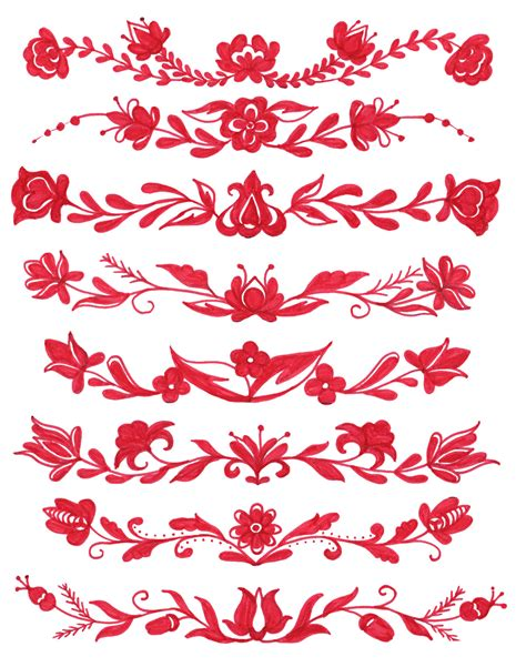 red flower border drawing png transparent onlygfxcom