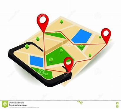 Navigation Map Vector Digital Gps Isometric Mobile