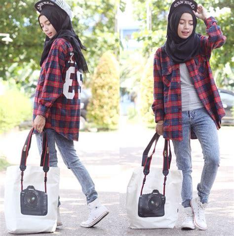 style hijab model celana jeans  wanita berhijab