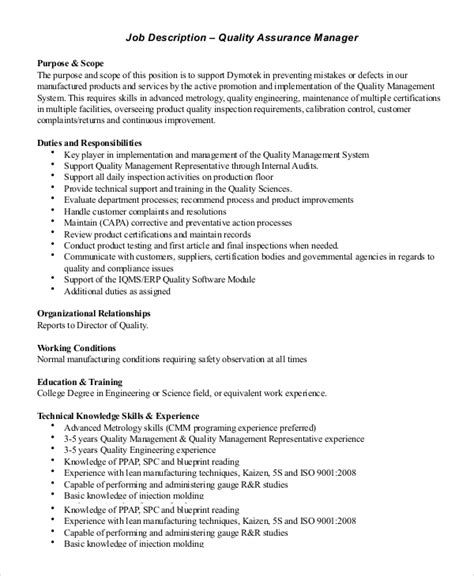 call center quality assurance manager resume sles sle quality assurance description 10 exles in pdf word