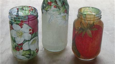 como decorar frascos de vidrio  decoupage candy bu