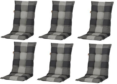 auflagen hochlehner grau 6x c184 hochlehner gartenstuhl auflagen 8cm grau kariert f 252 r st 252 hle mit hoher lehne auflagen