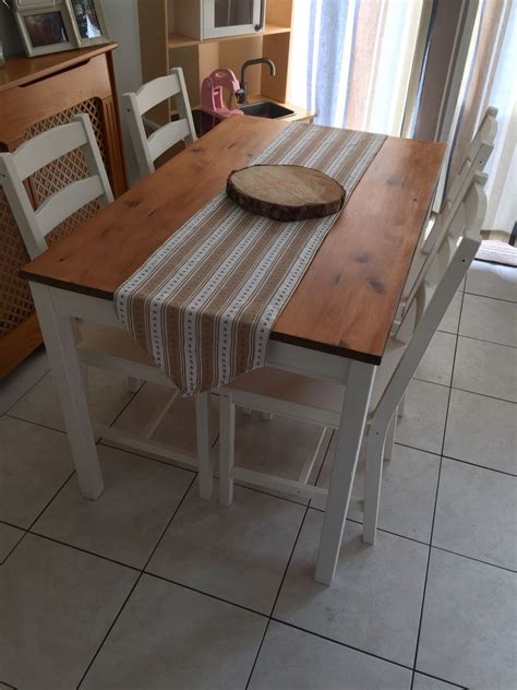 ikea jokkmokk dining table  chairs painted  annie
