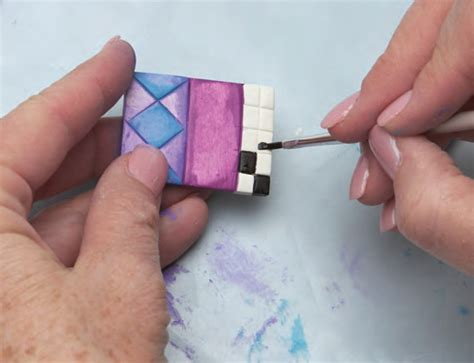 painting polymer clay tiles create mixed media