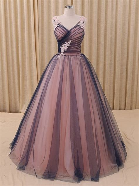 charming    neck navy blue princess tulle ball gown
