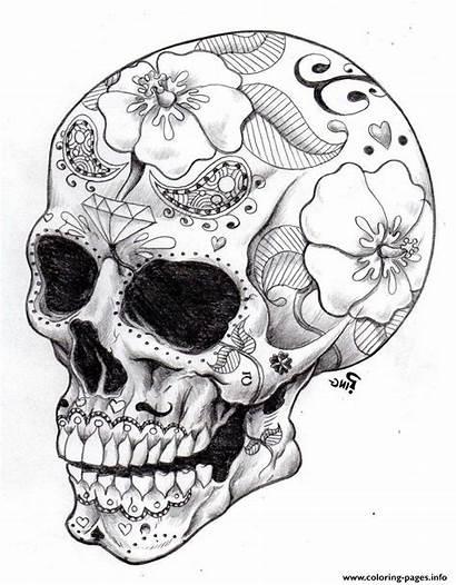Skull Coloring Sugar Hard Pages Precision Printable