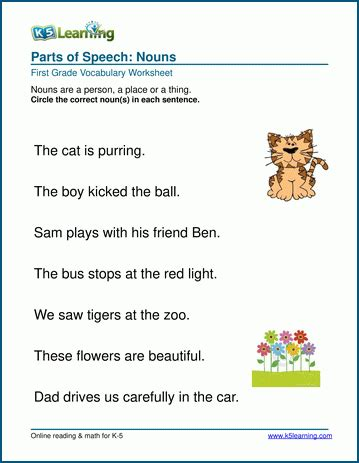 nouns worksheet person place or thing k5 learning