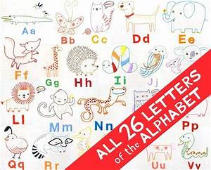 All 26 letters alphabet animals embroidery patterns pdf files for Embroidered alphabet letters