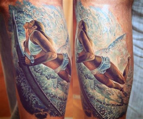 realistic  cute woman surfer tattoo  arm