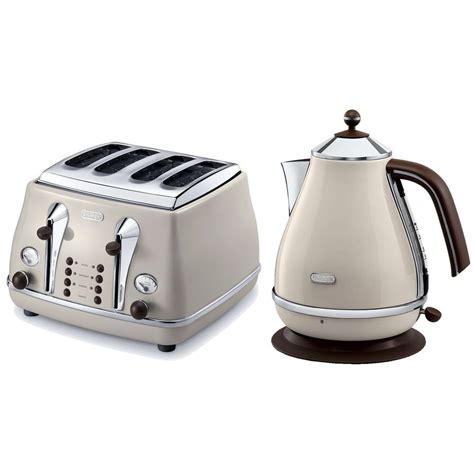 Delonghi Icona Kettle And Toaster Black by Delonghi Vintage Icona Beige Kettle 4 Slice Toaster Set