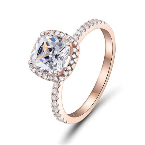 cushion cut rose gold 925 sterling silver engagement ring lajerrio jewelry
