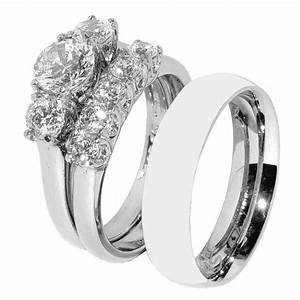 His Hers 3 PCS Stainless Steel Her Wedding Ring Set And