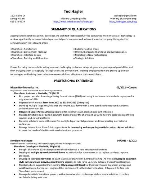 sharepoint developer resume sle ted hagler microsoft sharepoint resume