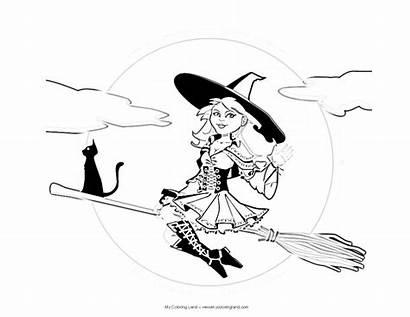 Witch Coloring Halloween Pages Witches Drawing Broom