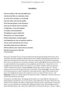 incendiary poem analysis - Engelsk - Opgaver.com