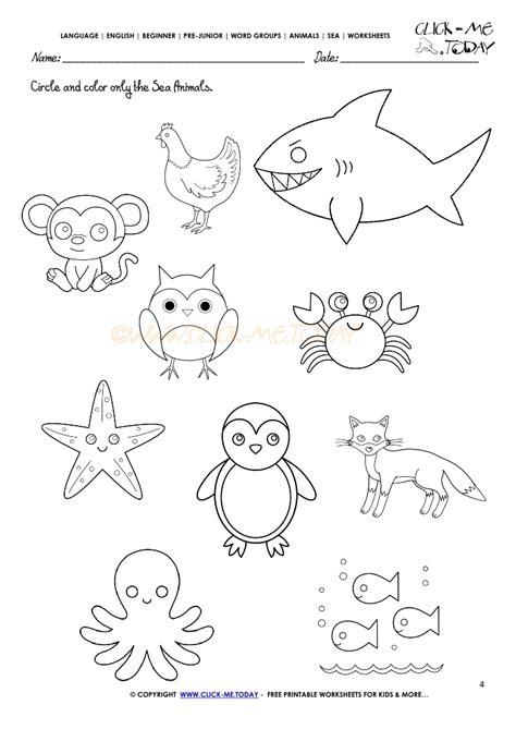 sea animals worksheets for preschoolers sea animals worksheet activity sheet circle 4 614
