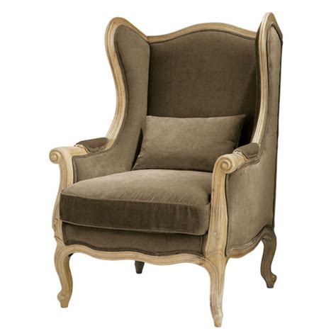 canape bergere fauteuil bergère en coton taupe manoir maisons du monde