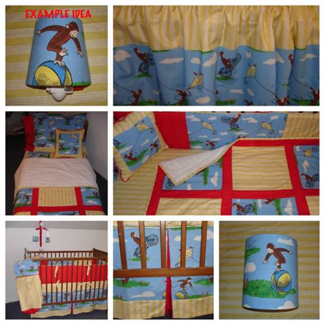 vintage classic curious george fabric by littleangelslinens