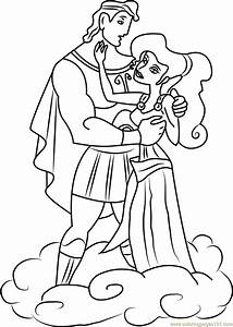 Hercules And Megara Are In Love Coloring Page