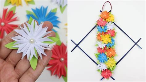 Diy wall decor funprojects you can do by yourself or with family on a free day or weekend. How to Make DIY Easy Paper Flowers Wall Hanging Beautiful Wall Decor Ideas   Handmade Wall ...