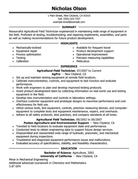 best field technician resume exle livecareer