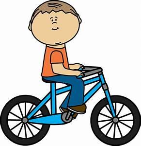 Boy Riding a Bicycle Clip Art - Boy Riding a Bicycle Image