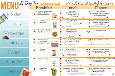21 Day Fix ALDI Meal Plan and Shopping List - Beach Ready Now
