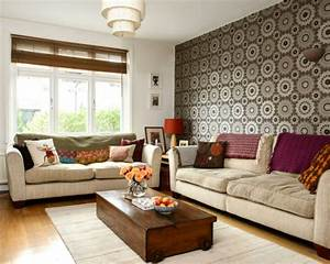vintage einrichtung einrichtungsideen im retro stil With balkon teppich mit blaue tapeten wohnzimmer