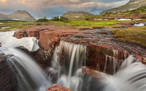 triple falls  glacier national park montana hd