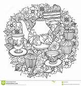 Tea Coloring Cups Teapot Cake Vector Zentangle Food Cupcakes Angel Elements Floral Pages Cup Template Orient Ornament Could Pattern Herbal sketch template