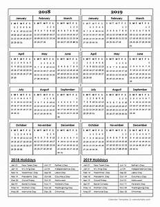 two year calendar template 2018 and 2019 free printable With multiple year calendar template