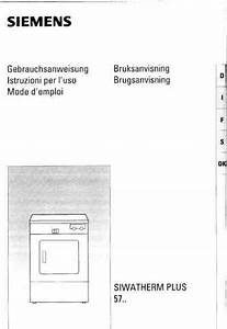 Siemens Siwatherm Plus 5703 Clothes Dryer Download Manual For Free Now