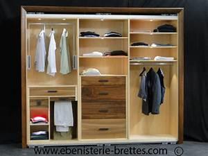 Dressing Bois Massif : dressing noyer erable ebenisterie brettes ~ Louise-bijoux.com Idées de Décoration