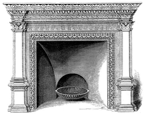 Vintage Clip Art Fireplace Mantels Christmas The