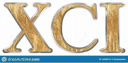 Roman Xci Numeral Unus Ninety Isolated Render