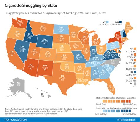 2015 va state tax table cigarette taxes and cigarette smuggling by state 2013