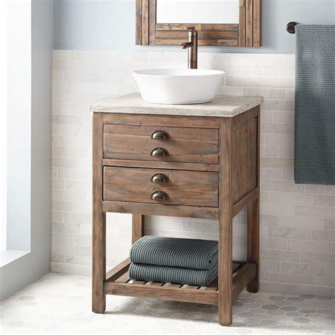 benoist reclaimed wood vessel sink console vanity