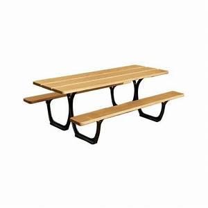 Table Bois Exotique : table de pique nique en acier et bois exotique table de pique nique 200x132 cm ~ Farleysfitness.com Idées de Décoration
