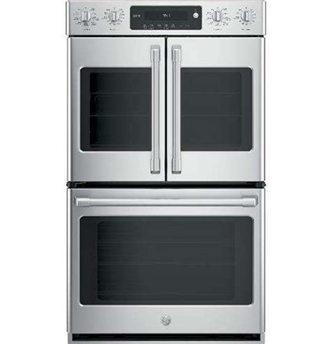 ge ctslss cafe  stainless steel electric double wall oven  french doors convection
