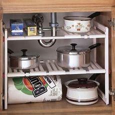 Under Sink Expandable Shelf Cabinet Storage Kitchen